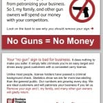 "Fight ""no gun"" signs with our ""No Guns = No Money"" cards"