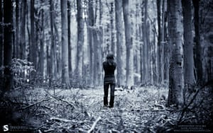 alone in woods