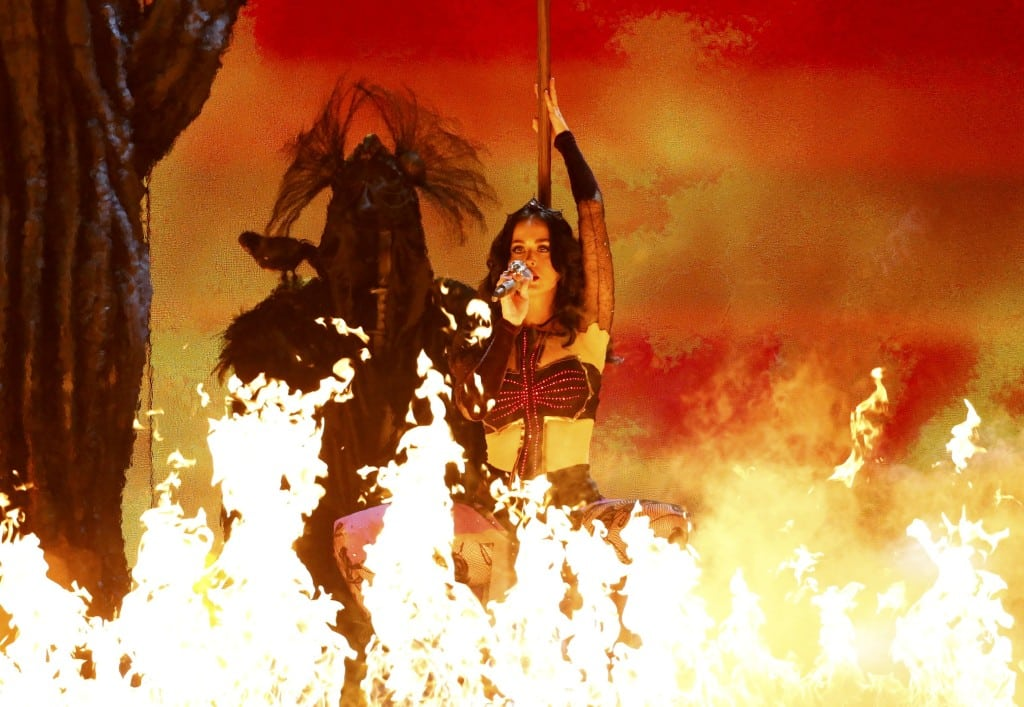 "Katy Perry performs ""Dark Horse"" at the 56th annual Grammy Awards in Los Angeles"